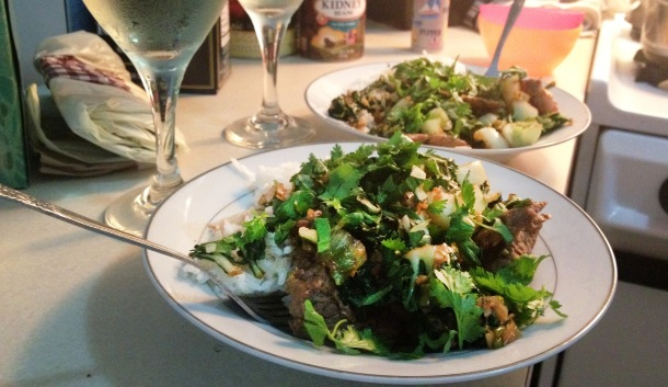 Ginger Beef Stir Fry with Tatsoi