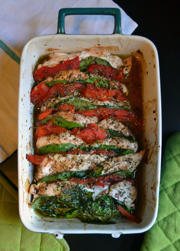 Chicken, Red Pepper, and Spinach Bake_long