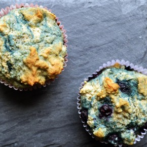 Blueberry-Flax Greek Yogurt Pancake Muffins
