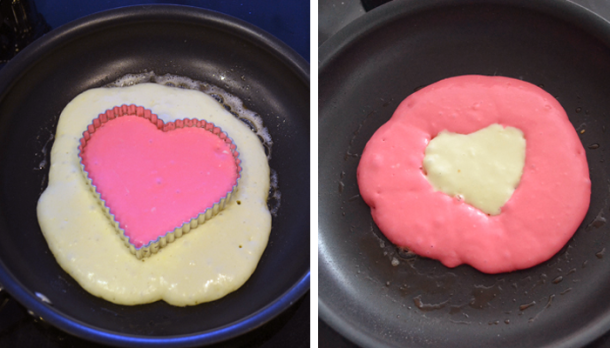 Heart Pancake_in pan