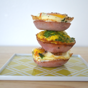 Spinach and Canadian Bacon Egg Cups
