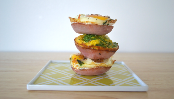 Spinach and Egg Canadian Bacon Cups