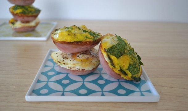 Spinach, Egg, and Canadian Bacon Cups