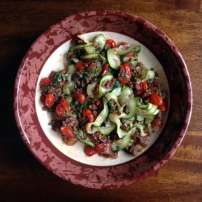 Zucchini Noodles with Sausage, Tomatoes, Basil, and Balsamic Glaze